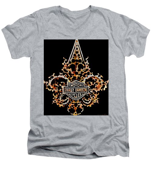 Men's V-Neck T-Shirt featuring the digital art Perforated Fleurs De Lys With Harley Davidson Logo by Danielle  Parent