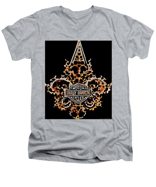 Perforated Fleurs De Lys With Harley Davidson Logo Men's V-Neck T-Shirt