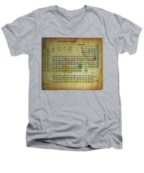 Men's V-Neck T-Shirt featuring the mixed media Periodic Table Of Elements by Brian Reaves