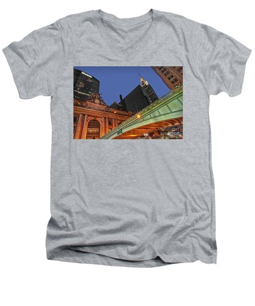 Pershing Square Men's V-Neck T-Shirt by Susan Candelario