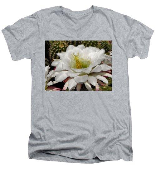 Men's V-Neck T-Shirt featuring the photograph Petals And Thorns by Deb Halloran