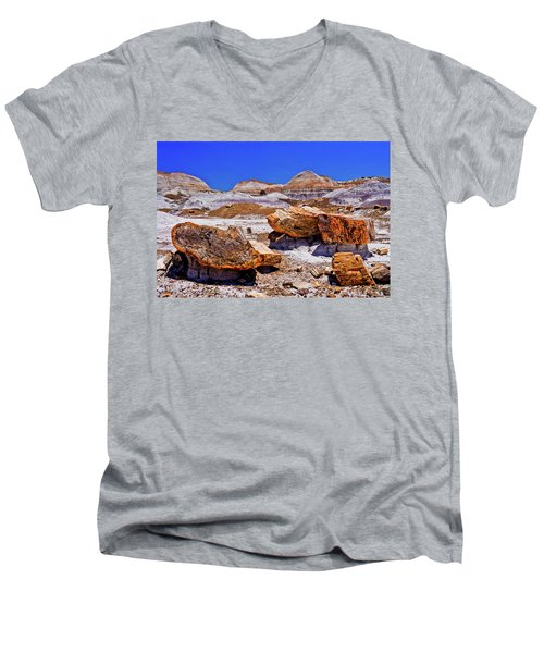 Men's V-Neck T-Shirt featuring the photograph Petrified Forest - Painted Desert by Bob and Nadine Johnston