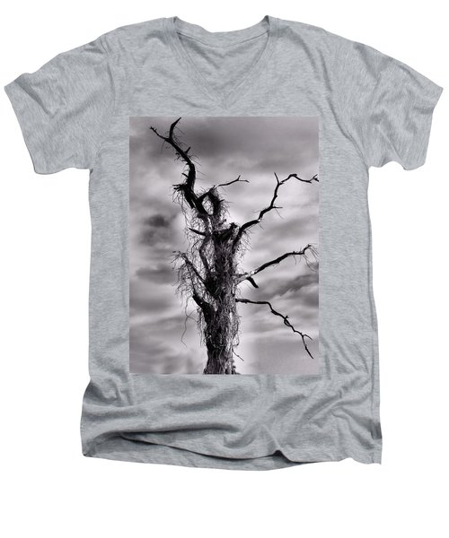 Men's V-Neck T-Shirt featuring the photograph Petrified Tree by Rosalie Scanlon
