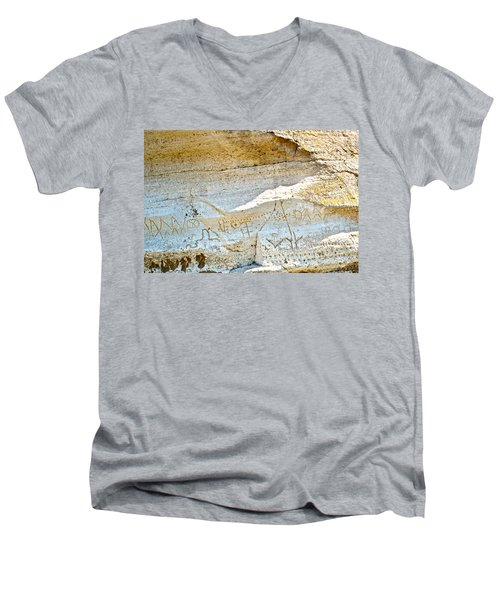 Petroglyphs At Petroglyph Point In Lava Beds Nmon-ca Men's V-Neck T-Shirt