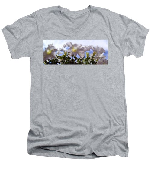 Men's V-Neck T-Shirt featuring the photograph Petunia Sky by Janice Westerberg