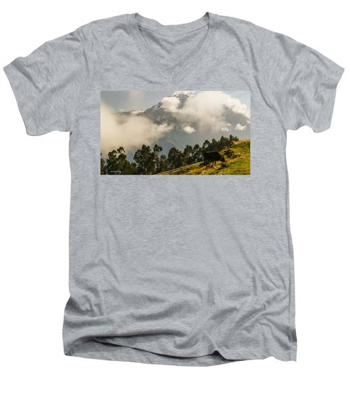 Peru Mountains With Cow Men's V-Neck T-Shirt
