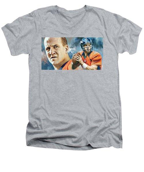 Peyton Manning Artwork Men's V-Neck T-Shirt