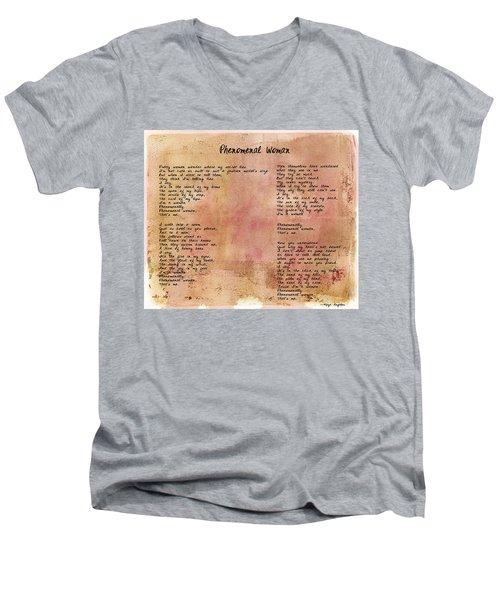 Phenomenal Woman - Red Rustic Men's V-Neck T-Shirt