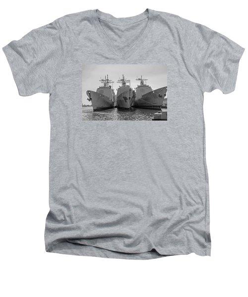 Philadelphia Navy Yard B - W  Men's V-Neck T-Shirt by Susan  McMenamin