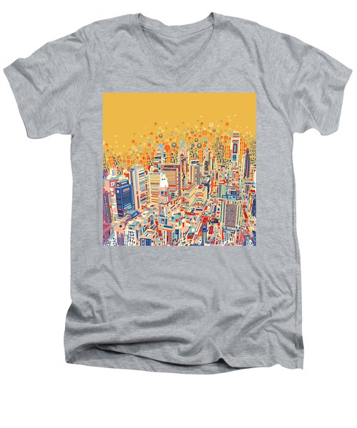Philadelphia Panorama Pop Art Men's V-Neck T-Shirt