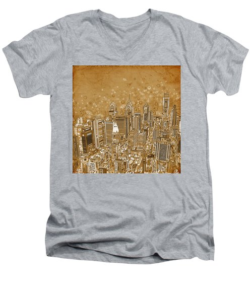 Philadelphia Panorama Vintage Men's V-Neck T-Shirt