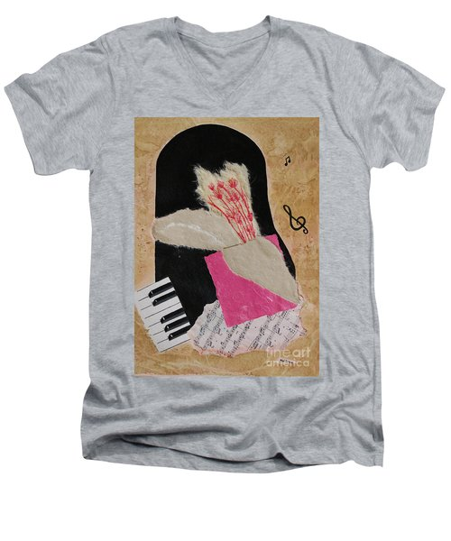Men's V-Neck T-Shirt featuring the painting Piano Still Life by Mini Arora