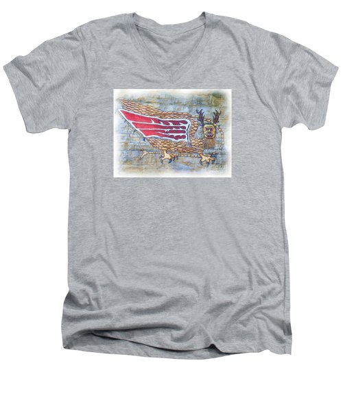 Men's V-Neck T-Shirt featuring the photograph Piasa Bird In Oils by Kelly Awad