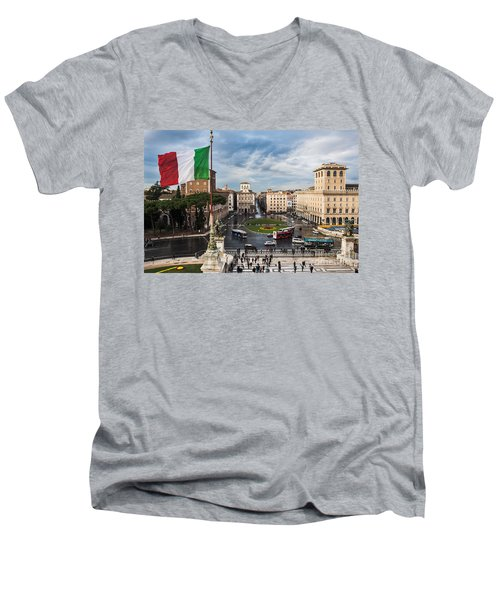 Men's V-Neck T-Shirt featuring the photograph Piazza Venezia by John Wadleigh