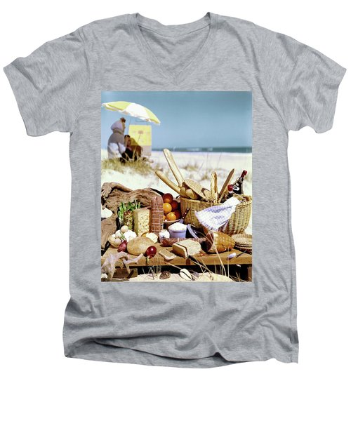 Picnic Display On The Beach Men's V-Neck T-Shirt