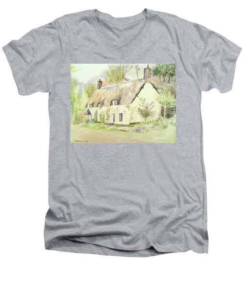Picturesque Dunster Cottage Men's V-Neck T-Shirt by Martin Howard