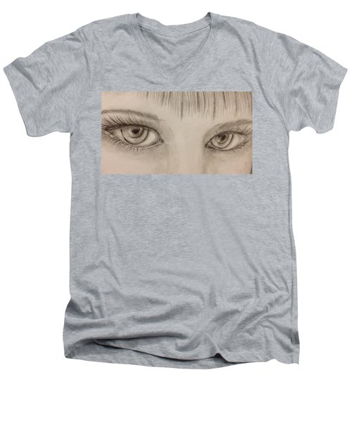 Men's V-Neck T-Shirt featuring the drawing Piercing Eyes by Bozena Zajaczkowska