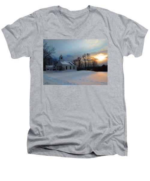 Piermont Church In Winter Light Men's V-Neck T-Shirt by Nancy Griswold