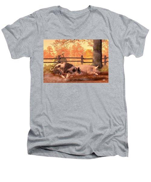 Pig Race Men's V-Neck T-Shirt