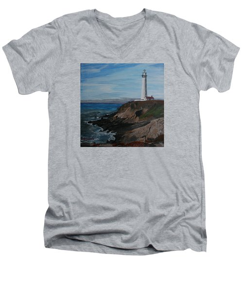 Pigeon Lighthouse Daytime Titrad Men's V-Neck T-Shirt