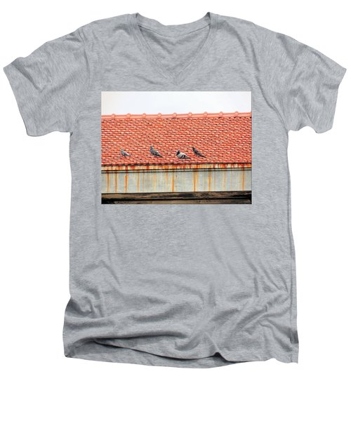 Men's V-Neck T-Shirt featuring the photograph Pigeons On Roof by Aaron Martens