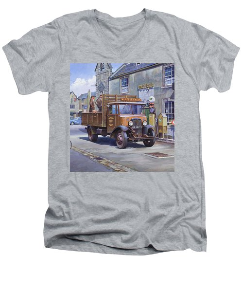 Piggy Goes To Market Men's V-Neck T-Shirt by Mike  Jeffries