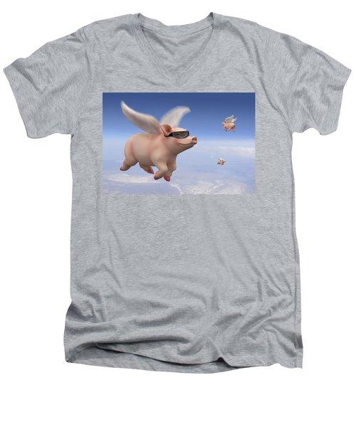 Pigs Fly Men's V-Neck T-Shirt