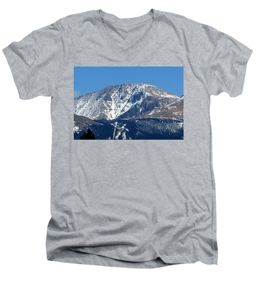 Pikes Peak Close-up Men's V-Neck T-Shirt