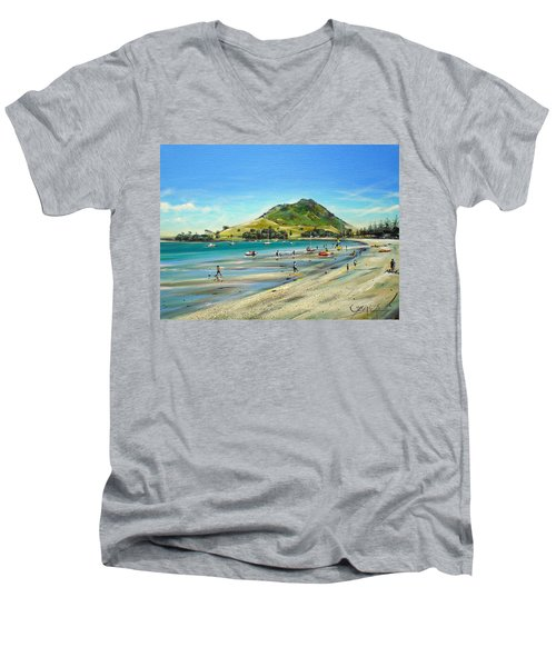 Pilot Bay Mt M 050110 Men's V-Neck T-Shirt by Sylvia Kula