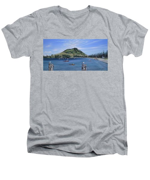 Men's V-Neck T-Shirt featuring the painting Pilot Bay Mt M 291209 by Sylvia Kula