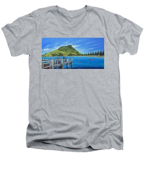 Men's V-Neck T-Shirt featuring the painting Pilot Bay Mt Maunganui 201214 by Selena Boron