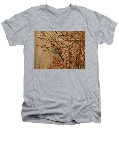 Pine Grosbeak Men's V-Neck T-Shirt