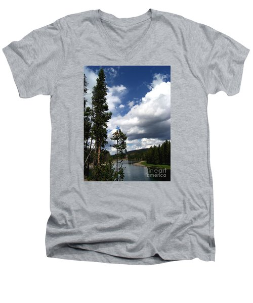 Pine On The Yellowstone River Men's V-Neck T-Shirt