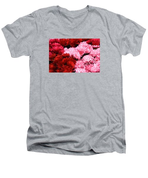 Pink And Red Men's V-Neck T-Shirt by Menachem Ganon