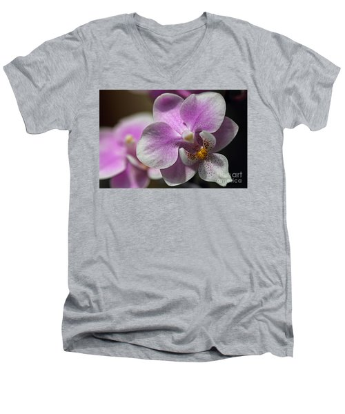 Pink And White Orchid Men's V-Neck T-Shirt