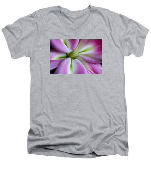 Men's V-Neck T-Shirt featuring the photograph Pink Asiatic Lily by Julie Andel
