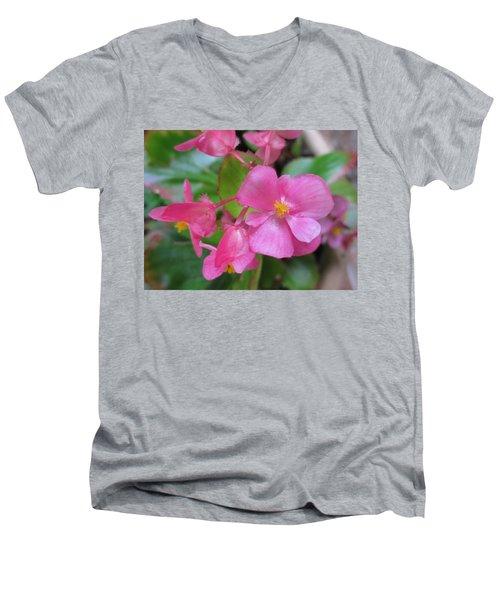 Pink Begonias Men's V-Neck T-Shirt by Barbara Yearty