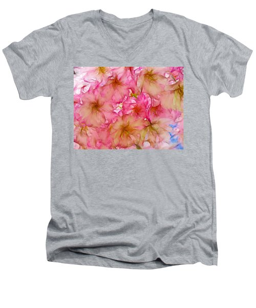 Men's V-Neck T-Shirt featuring the digital art Pink Blossom by Lilia D