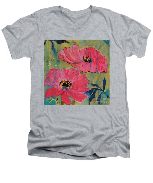 Men's V-Neck T-Shirt featuring the painting Pink Blossoms by Robin Maria Pedrero