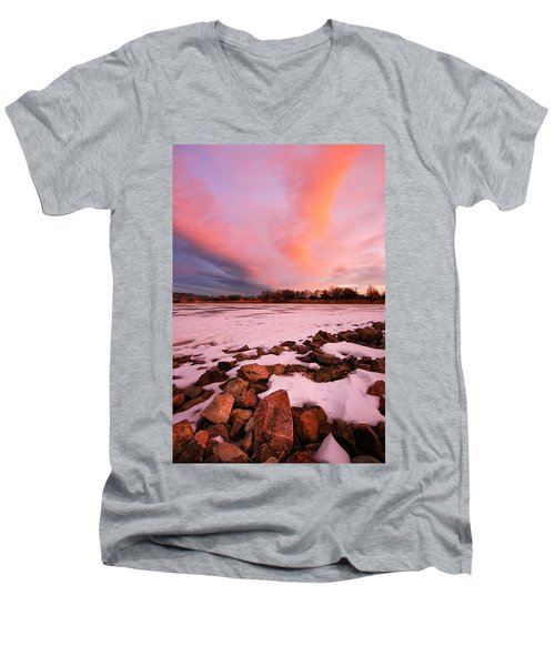Pink Clouds Over Memorial Park Men's V-Neck T-Shirt by Ronda Kimbrow