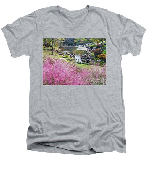 Pink Fall Men's V-Neck T-Shirt