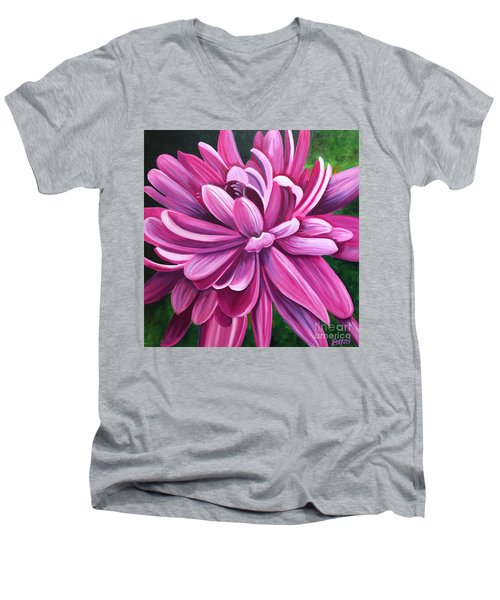 Pink Flower Fluff Men's V-Neck T-Shirt by Debbie Hart