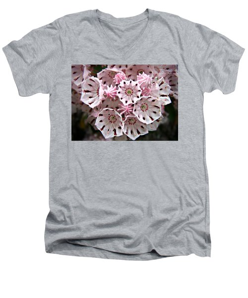 Pink Flowered Mountain Laurel Men's V-Neck T-Shirt