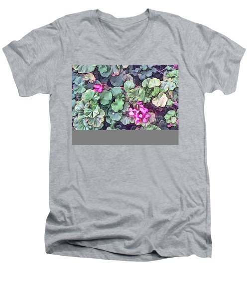 Pink Flowers Painting Men's V-Neck T-Shirt