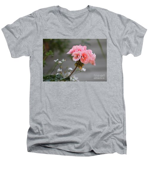 Pink Geranium Men's V-Neck T-Shirt