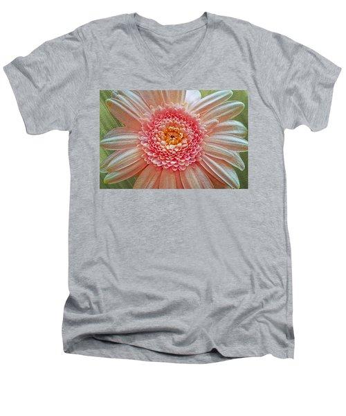 Pink Gerbera Textured Men's V-Neck T-Shirt