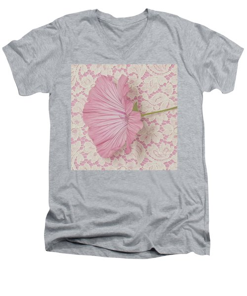 Pink Lavatera Blossom On Vintage Lace - Macro Men's V-Neck T-Shirt by Sandra Foster