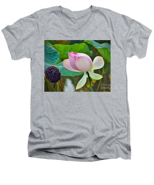 Pink Lotus Men's V-Neck T-Shirt