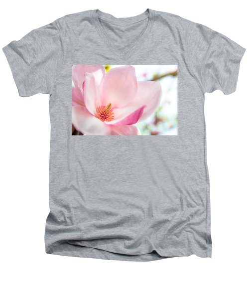 Pink Magnolia Men's V-Neck T-Shirt