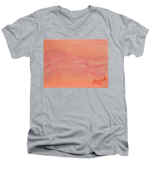 Pink Nude On Orange Men's V-Neck T-Shirt by David Trotter